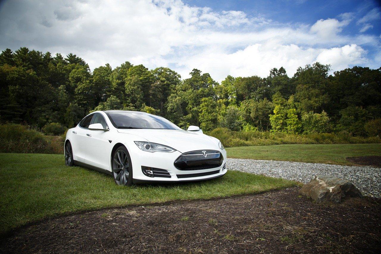 Hvid Tesla er parkeret på græsplæne