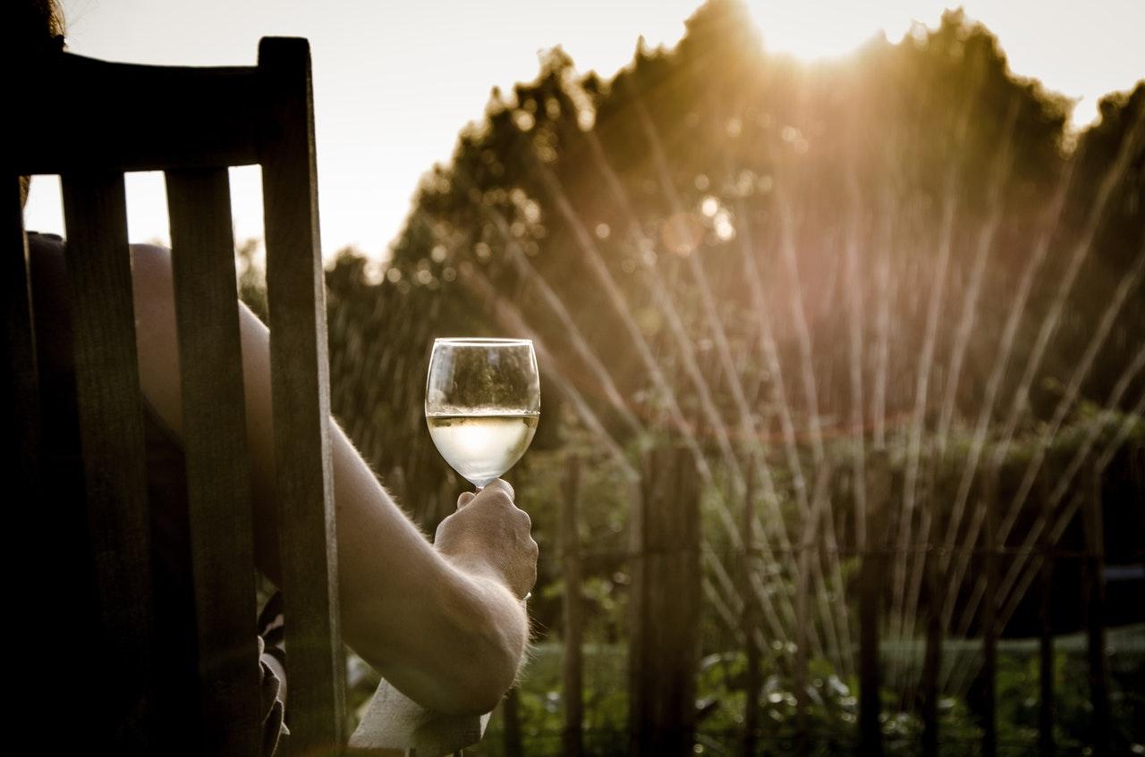 Person drikker vin imens hun ser græsset blive vandet